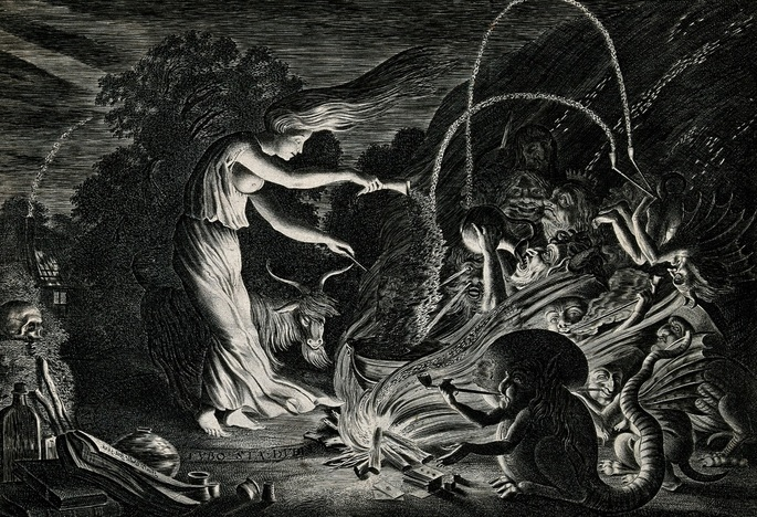 A witch at her cauldron surrounded by beasts. Etching by J. Wellcome